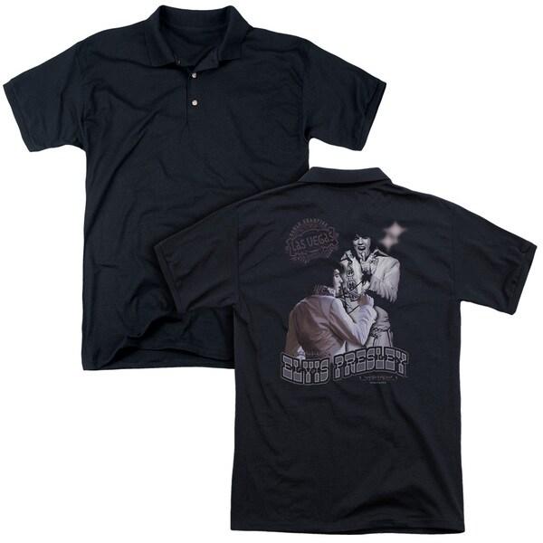 Elvis/Violet Vegas (Back Print) Mens Regular Fit Polo in Black