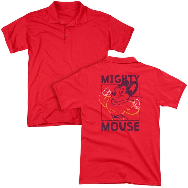 Mighy Mouse/Break The Box (Back Print) Mens Regular Fit Polo in Red