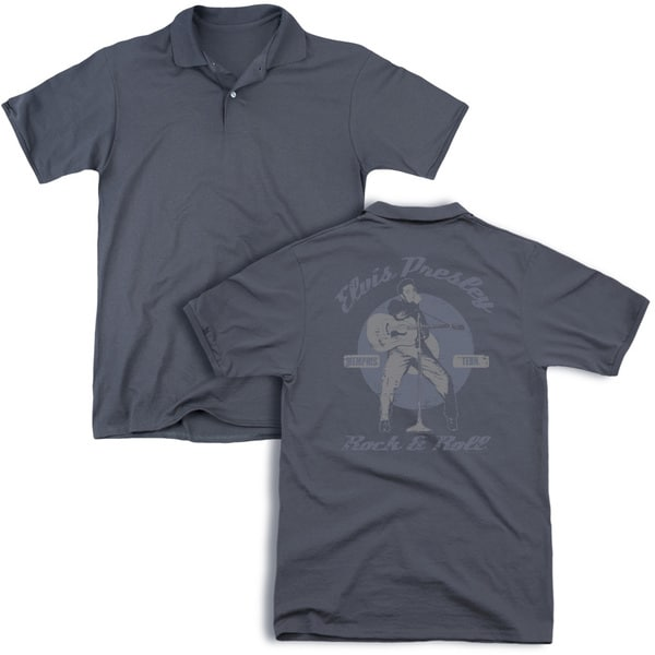 Elvis/Rock & Roll (Back Print) Mens Regular Fit Polo in Charcoal