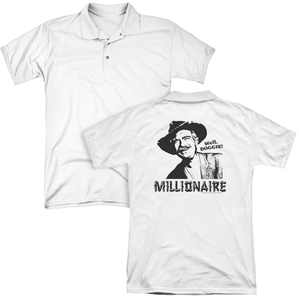 Beverly Hillbillies/Millionaire (Back Print) Mens Regular Fit Polo in White