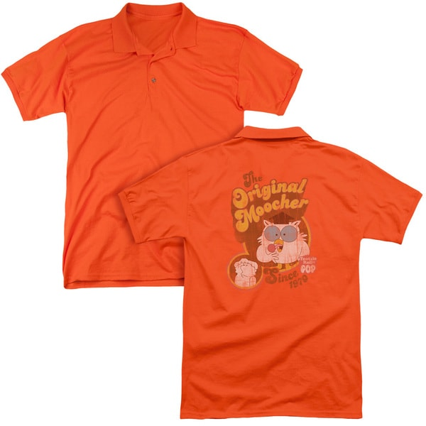 Tootsie Roll/Original Moocher (Back Print) Mens Regular Fit Polo in Orange