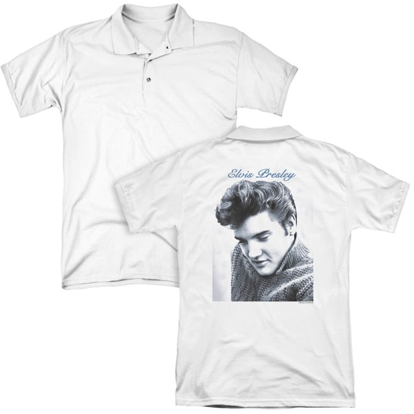 Elvis/Script Sweater (Back Print) Mens Regular Fit Polo in White