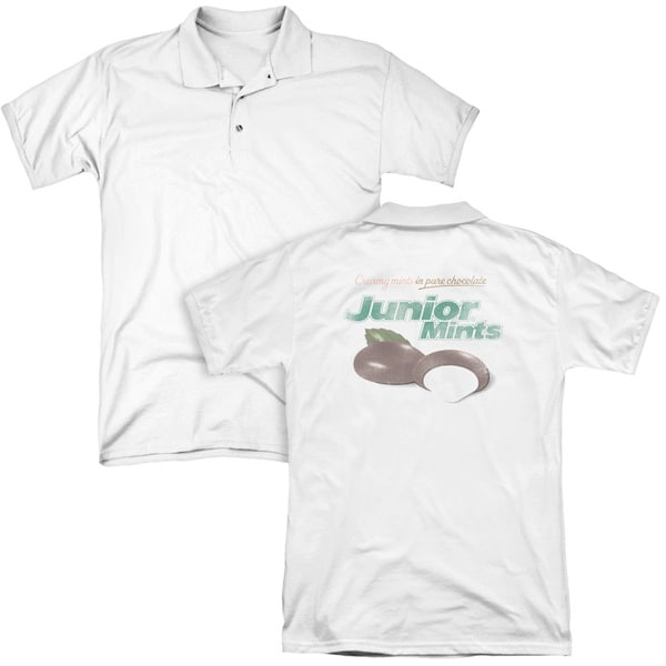 Tootsie Roll/Junior Mints Logo (Back Print) Mens Regular Fit Polo in White