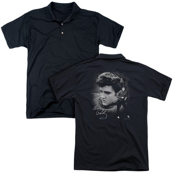 Elvis/Sweater (Back Print) Mens Regular Fit Polo in Black