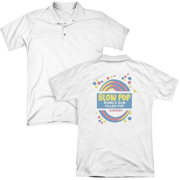 Tootsie Roll/Blow Pop Label (Back Print) Mens Regular Fit Polo in White