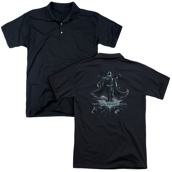 Dark Knight Rises/Break Through (Back Print) Mens Regular Fit Polo in Black