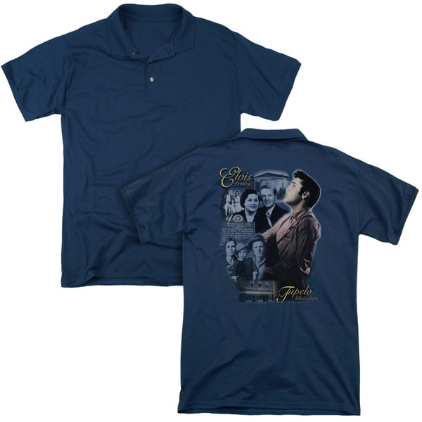 Elvis/Tupelo (Back Print) Mens Regular Fit Polo in Navy