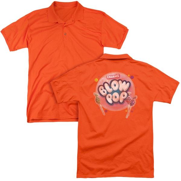 Tootsie Roll/Blow Pop Bubble (Back Print) Mens Regular Fit Polo in Orange
