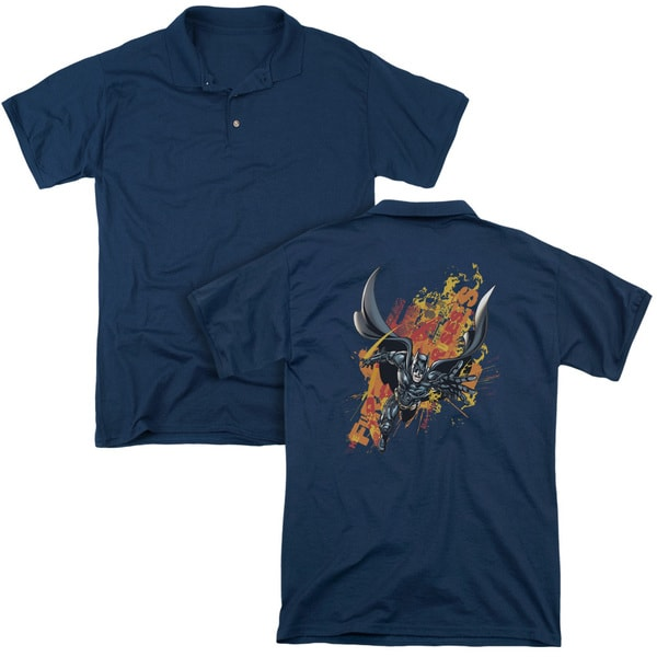 Dark Knight Rises/Fire Rises (Back Print) Mens Regular Fit Polo in Navy