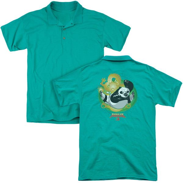 Kung Fu Panda/Drago Po (Back Print) Mens Regular Fit Polo in Kelly Green