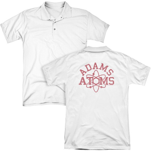 Revenge Of The Nerds/Adams Atoms (Back Print) Mens Regular Fit Polo in White