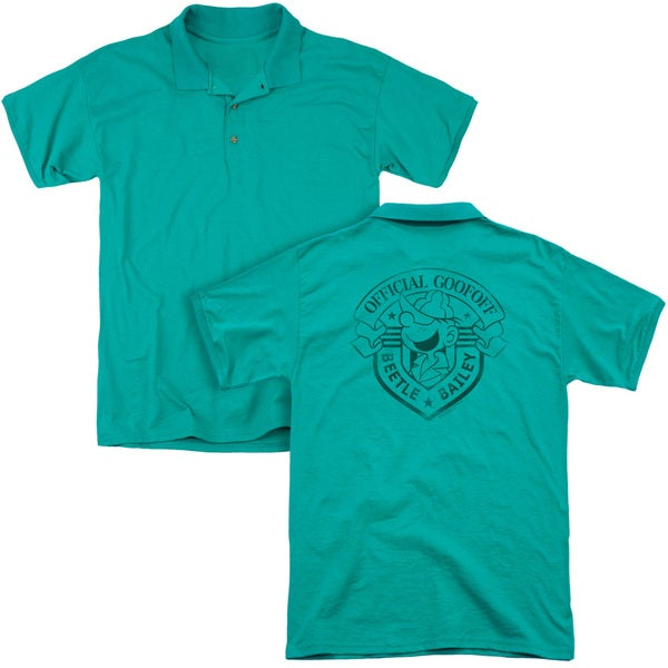 Beetle Bailey/Official Badge (Back Print) Mens Regular Fit Polo in Kelly Green