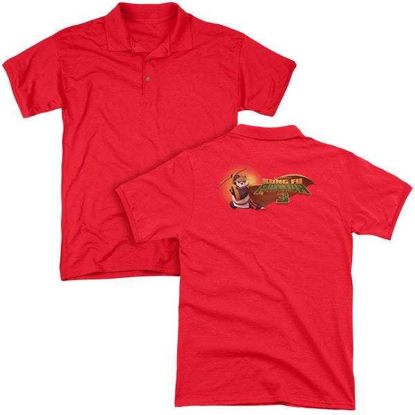 Kung Fu Panda/Po Logo (Back Print) Mens Regular Fit Polo in Red