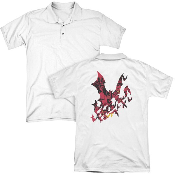 Batman/Broken City (Back Print) Mens Regular Fit Polo in White