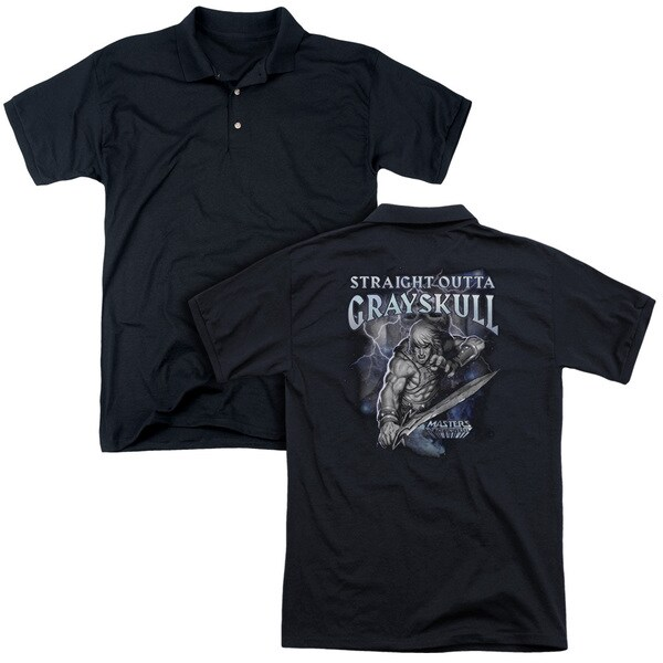 Masters Of The Universe/Straight Outta Grayskull (Back Print) Mens Regular Fit Polo in Black