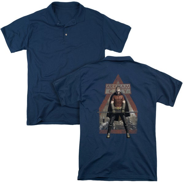 Arkham City/Arkham Robin (Back Print) Mens Regular Fit Polo in Navy