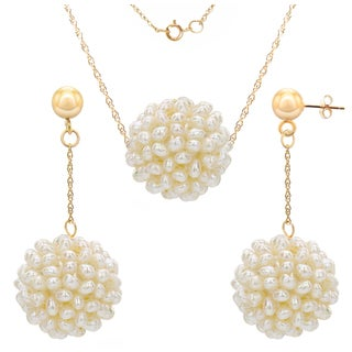 DaVonna 14k Yellow Gold White Snow Ball Freshwater Pearl Pendant Necklace and Stud Earrings Jewelry Set