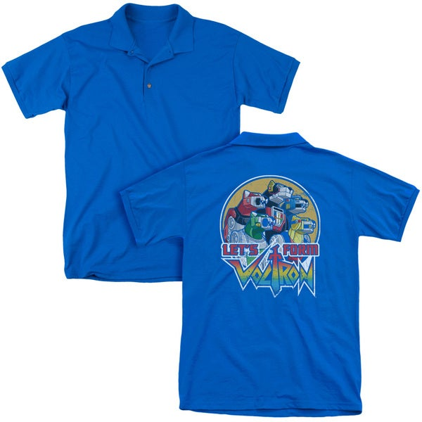 Voltron/Let's Form (Back Print) Mens Regular Fit Polo in Royal