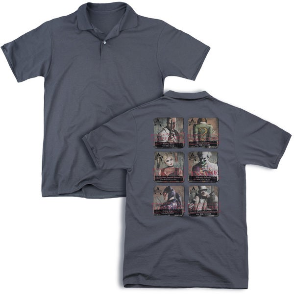 Arkham City/Arkham Lineup (Back Print) Mens Regular Fit Polo in Charcoal