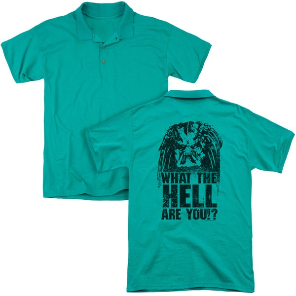 Predator/What Are You (Back Print) Mens Regular Fit Polo in Kelly Green