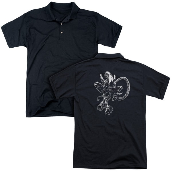 Alien/Xenomorph (Back Print) Mens Regular Fit Polo in Black