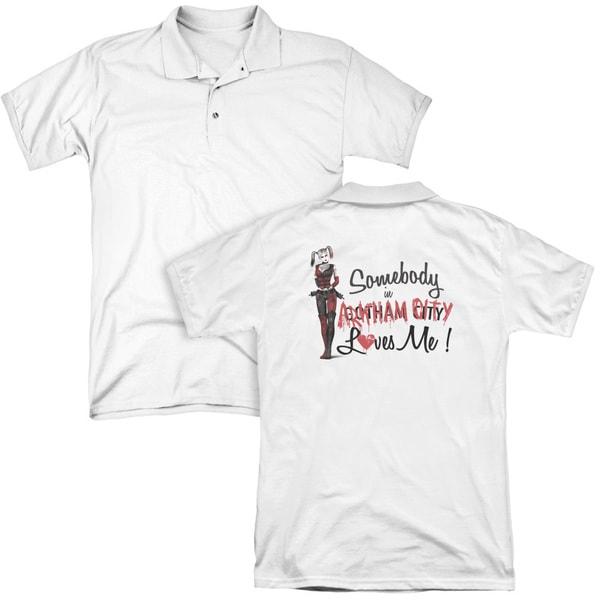 Arkham City/Somebody Loves Me (Back Print) Mens Regular Fit Polo in White