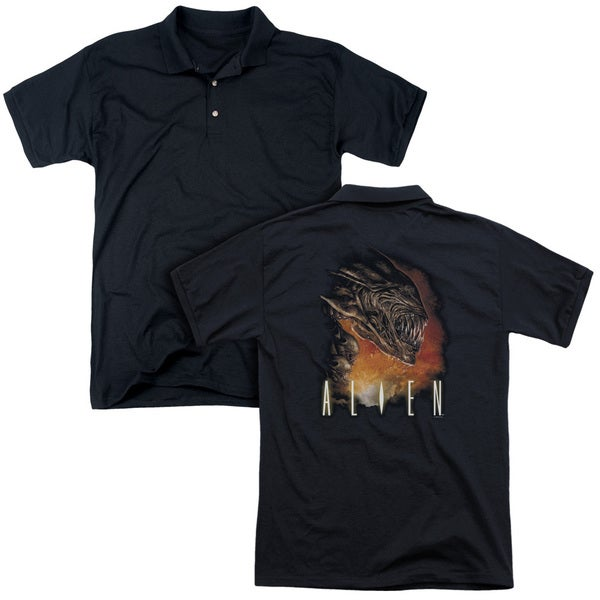 Alien/Fangs (Back Print) Mens Regular Fit Polo in Black