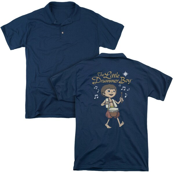 Little Drummer Boy/Starlight (Back Print) Mens Regular Fit Polo in Navy
