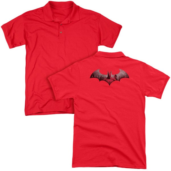 Arkham City/In The City (Back Print) Mens Regular Fit Polo in Red