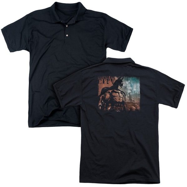 Arkham City/City Knockout (Back Print) Mens Regular Fit Polo in Black