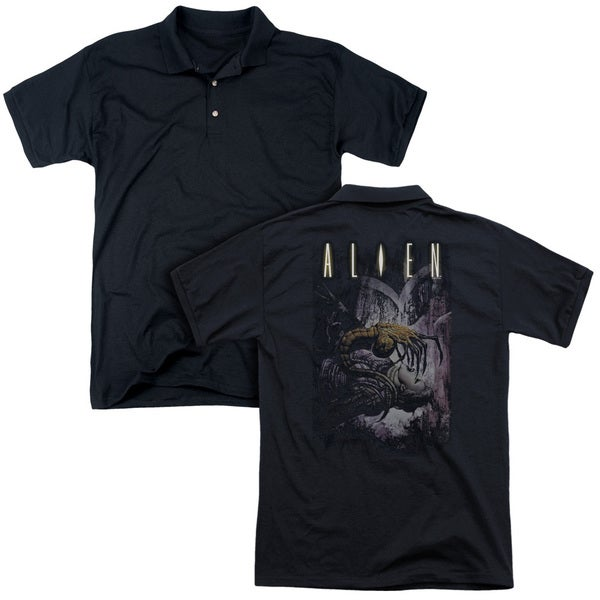 Alien/Hugger (Back Print) Mens Regular Fit Polo in Black