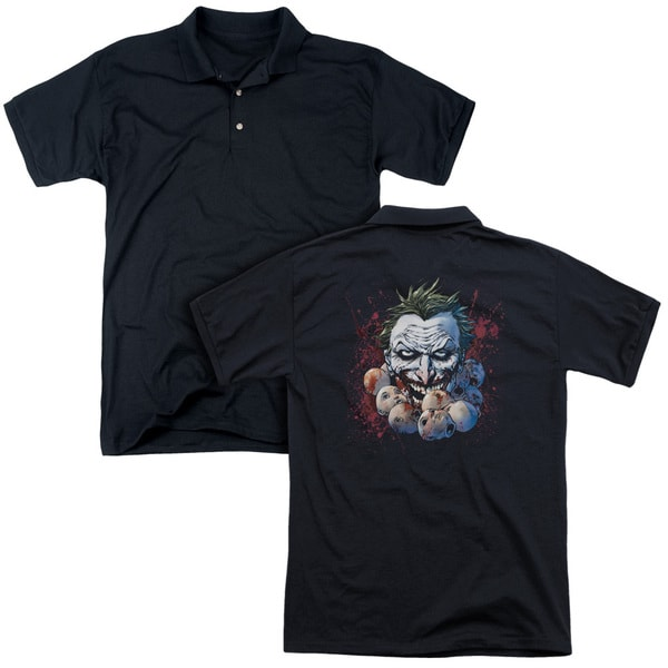 JLA/Doll Heads (Back Print) Mens Regular Fit Polo in Black