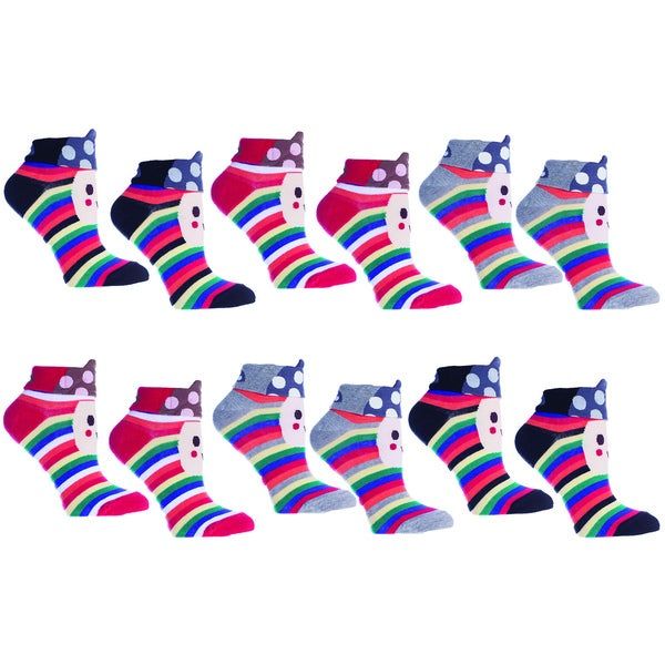 Minx NY 3D Happy with a Hat Novelty Socks (Pack of 6)