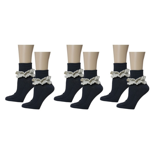 MINXNY Lace Top Anklet Socks Version 2 (3-pair Bundle)
