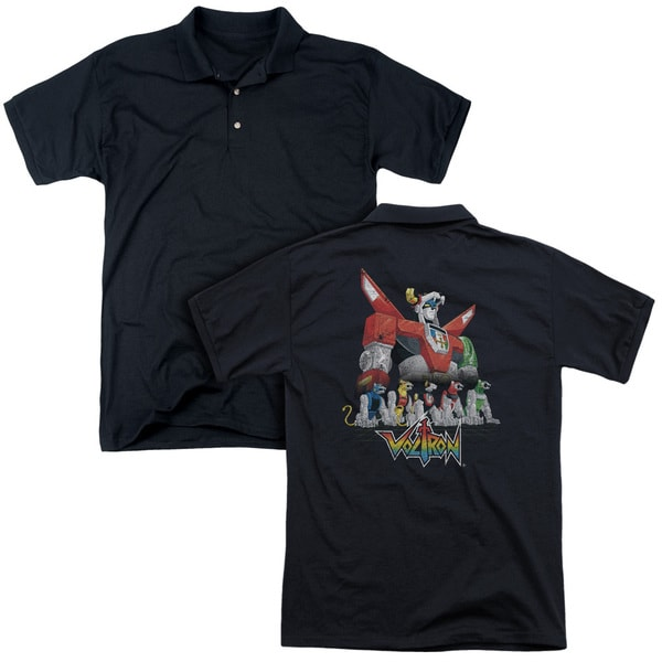 Voltron/Lions (Back Print) Mens Regular Fit Polo in Black