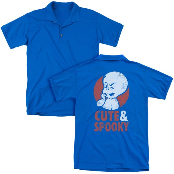 Casper/Spooky (Back Print) Mens Regular Fit Polo in Royal