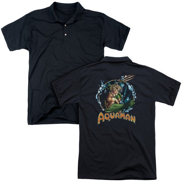 JLA/Ruler Of The Seas (Back Print) Mens Regular Fit Polo in Black