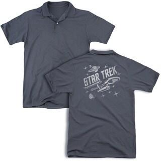 Star Trek/Through Space (Back Print) Mens Regular Fit Polo in Charcoal