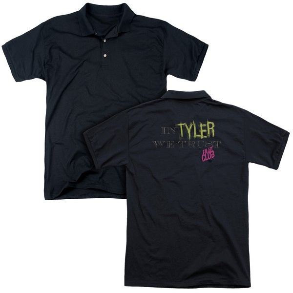 Fight Club/In Tyler We Trust (Back Print) Mens Regular Fit Polo in Black