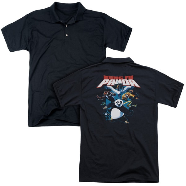 Kung Fu Panda/Kung Fu Group (Back Print) Mens Regular Fit Polo in Black