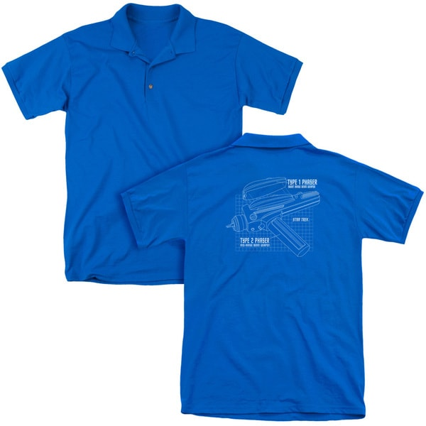 Star Trek/Phaser Plans (Back Print) Mens Regular Fit Polo in Royal