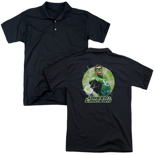 JLA/Green Static (Back Print) Mens Regular Fit Polo in Black