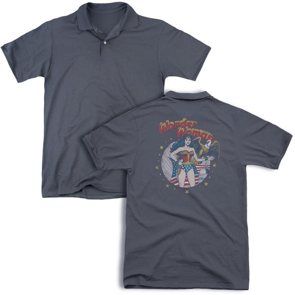 JLA/At Your Service (Back Print) Mens Regular Fit Polo in Charcoal