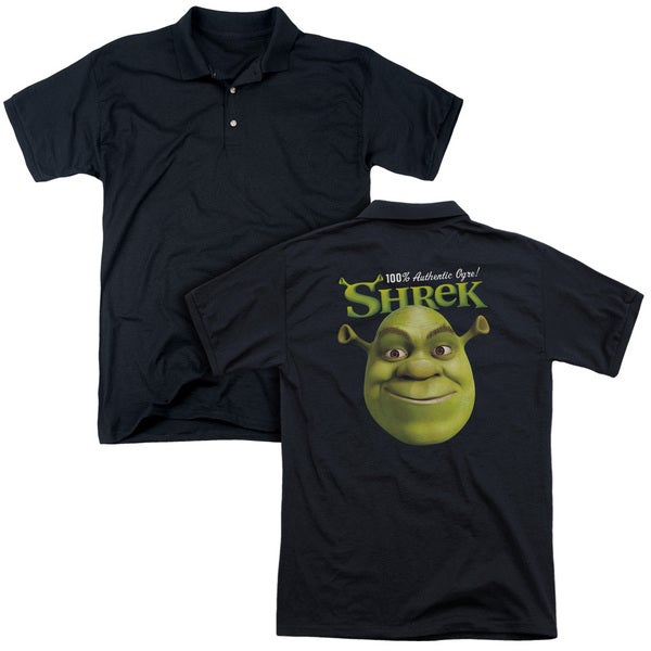 Shrek/Authentic (Back Print) Mens Regular Fit Polo in Black