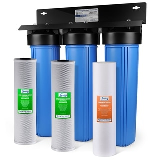 iSpring WGB32B 3-stage 20-inch Big Blue Whole House Water Filter with Multi-layer Sediment and Dual CTO Carbon Block Filters