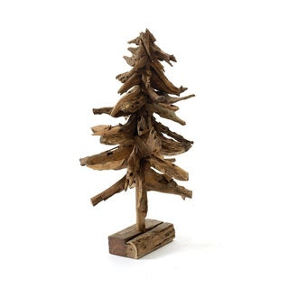 Hip Vintage Brown Wood Tropical Holiday Tree Accent