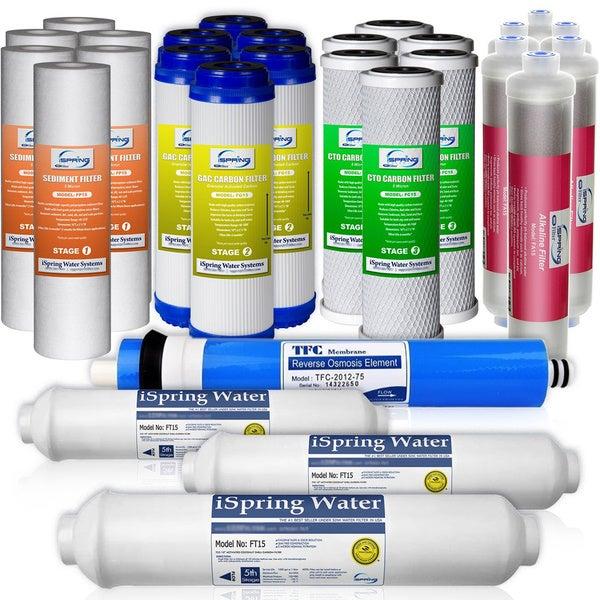 iSpring F28K75 3-year Replacement Filter 28-piece Set for 6-stage Alkaline Reverse Osmosis Water Filter Fits RCC7AK, RCC7PAK 19134857