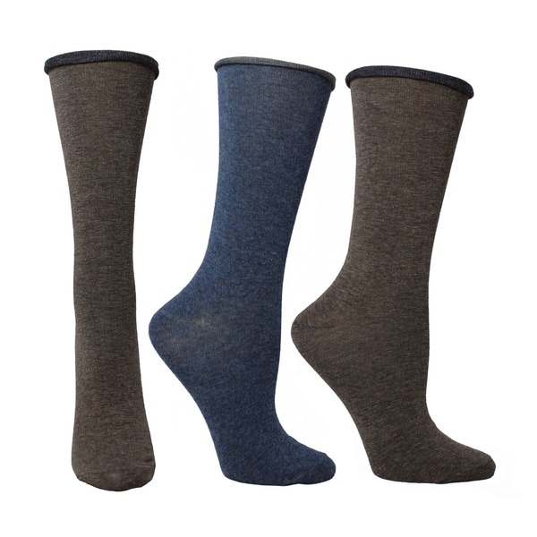 Blue and Brown Roll-top Crew Socks (Pack of 3)