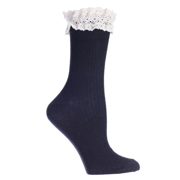 MinxNY Black Lace Top Anklet Socks