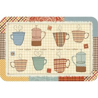 Counterart Reversible Plastic Wipe Clean Placemats -Patchwork Cafe (Set of 4)